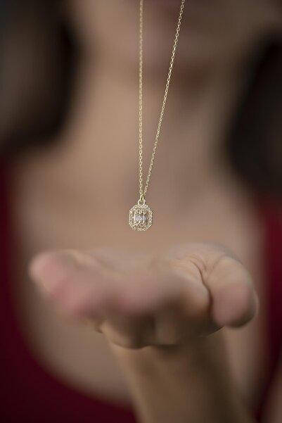 Ninova Silver Kadın Baget ve Zirkon Taşlı Altın Kaplama Gümüş Kolye