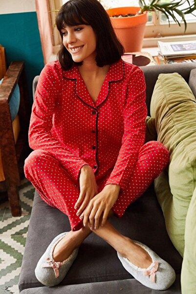 Olalook Kadın Kırmızı Siyah Biyeli Pijama Takımı PJM-00000004