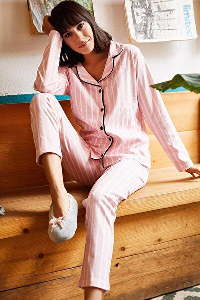 Olalook Kadın Pembe Siyah Biyeli Pijama Takımı PJM-00000004
