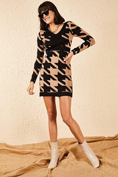 Bianco Lucci Kadın V Yaka Desenli Elbise 10181042