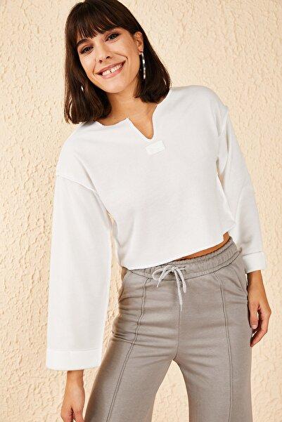 Bianco Lucci Kadın V Yaka Selanik Sweatshirt 10181038