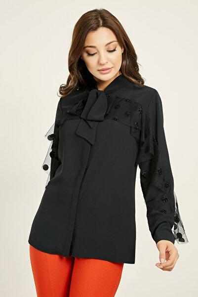 Sateen Tül Fırfırlı Yaka Bağlamalı Gömlek - Siyah 20Kgo139K164