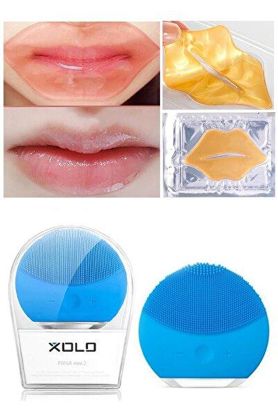 xolo Mavi Şarjlı Yüz Temizleme Cihazı + Altın Kolajen Dudak Maske Nemlendirici 8133458903568