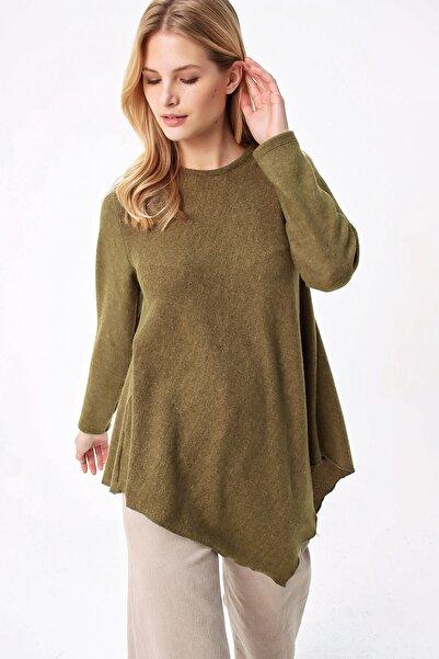 Trend Alaçatı Stili Kadın Yağ Yeşili Asimetrik Kesim Tunik ALC-X5261