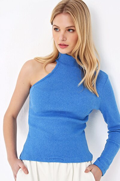 Trend Alaçatı Stili Kadın Mavi Tek Omuz Crop Bluz ALC-X5260