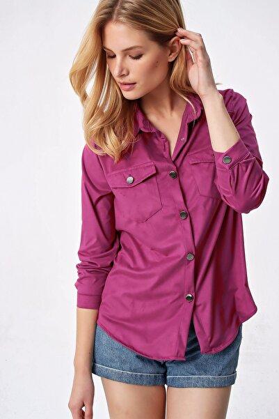 Trend Alaçatı Stili Kadın Fuşya Süet Premium Gömlek ALC-X5281