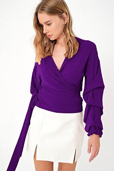 Trend Alaçatı Stili Kadın Mor Kruvaze Kat Kat Volanlı Bluz ALC-019-059-ST