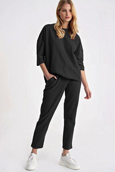 Trend Alaçatı Stili Kadın Siyah Bisiklet Yaka Eşofman Takım ALC-X5153