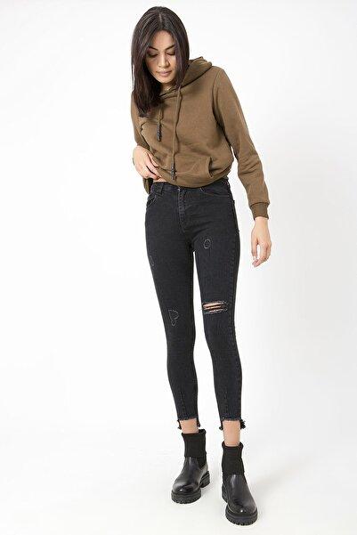 ZİNDİ Kadın Füme Anna Yüksel Bel Jeans