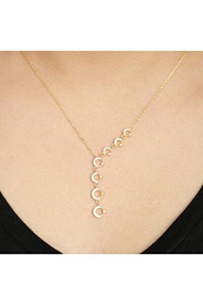 Midyat Gümüş Dünyası Ayyıldız Motifli Altın Kaplama Bayan Gümüş Hayalet Kolye