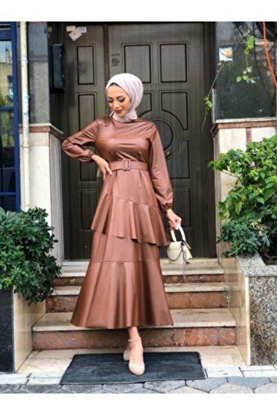 Reference Kadın Taba Tesettür Deri  Detaylı Elbise