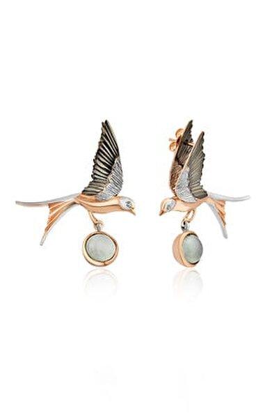 Tasarım El Işçiliği Doğal Taşlı Ikili Kuş Figürlü Küpe