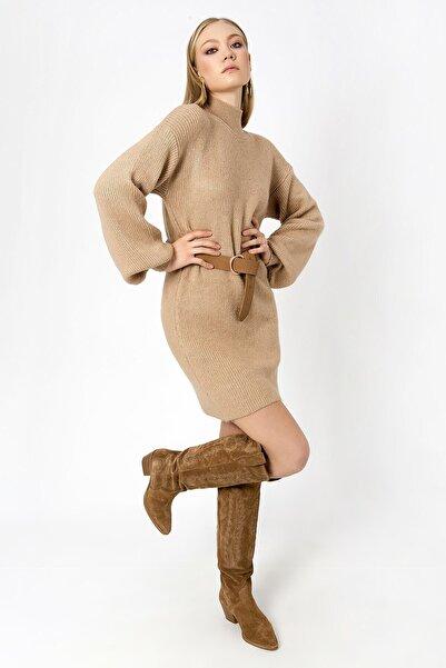 ZİNDİ Kadın Boğazlı Tunik Kazak Camel