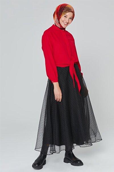 Armine Kadın Nar Çiçeği Önden Bağlamalı Gömlek 20k3907