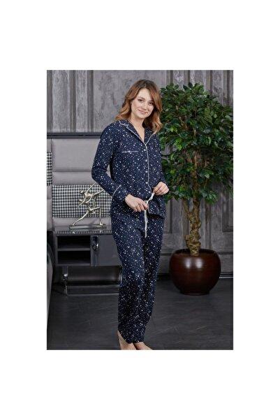 Pamuk & Pamuk Gömlek Yaka Biyeli Yıldız Desen Lacivert Pamuk Pijama L