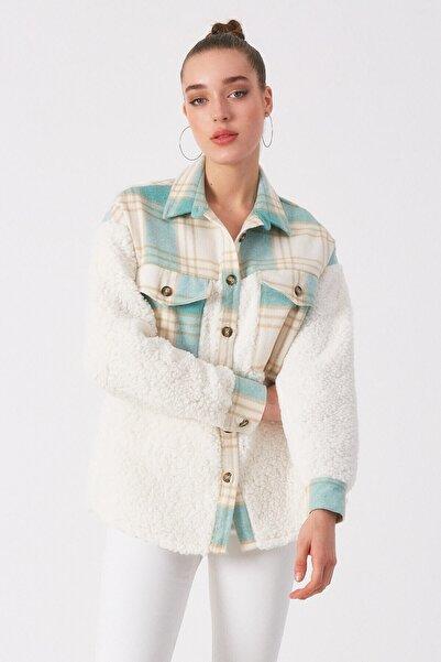 Robin Kadın Mint Peluş Detaylı Desenli Gömlek