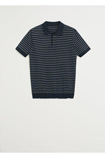MANGO Man Pamuklu Keten Dokuma Polo Tişört