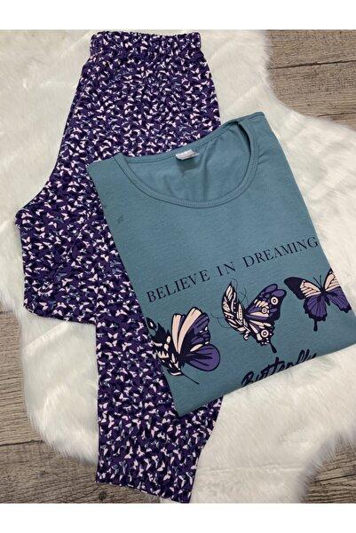 Sude Kadın Mavi Uzun Kollu Pijama Takımı