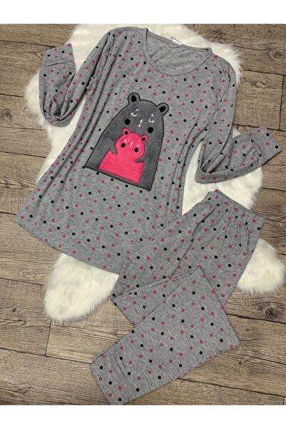 Sude Kadın Gri Uzun Kollu Pijama Takımı