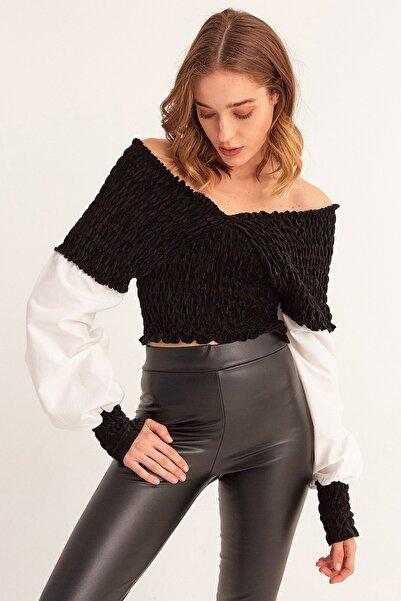 Fulla Moda V Yaka Gipeli Kadife Bluz