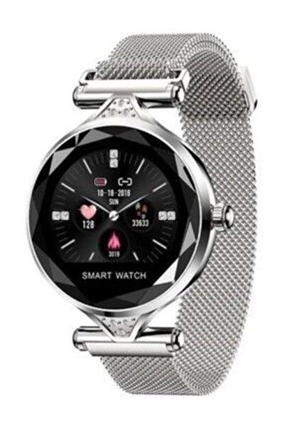 JUNGLEE H1 Bayan Saati Akıllı Bileklik Nabız Ölçer Uyku Takibi H1 Gümüş