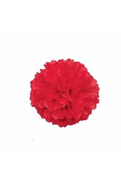 MascotShop Kırmızı Ponpon Gramafon Çiçek Kağıt Doğum Günü Parti Süsü 1 Adet
