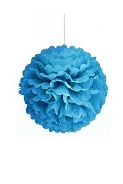 Açık Mavi Ponpon Gramafon Çiçek Kağıt Doğum Günü Parti Süsü 1 Adet