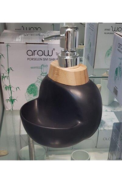 AROW Porselen Mat Siyah Süngerlikli Sıvı Sabunluk Porselen Sıvı Deterjanlık