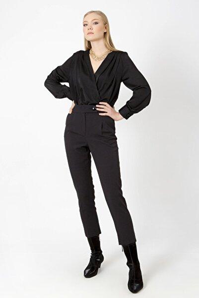 ZİNDİ Kadın Siyah Kruvaze Çıt Çıtlı Bluz