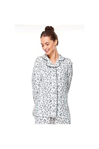 Çift Kaplan Kadın Siyah Leopar Desenli Gömlek Yaka Pijama Takımı 7533