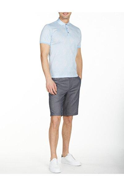 Bisse Erkek Açık Mavi Merserize Jakarlı Gömlek Yaka T-shirt