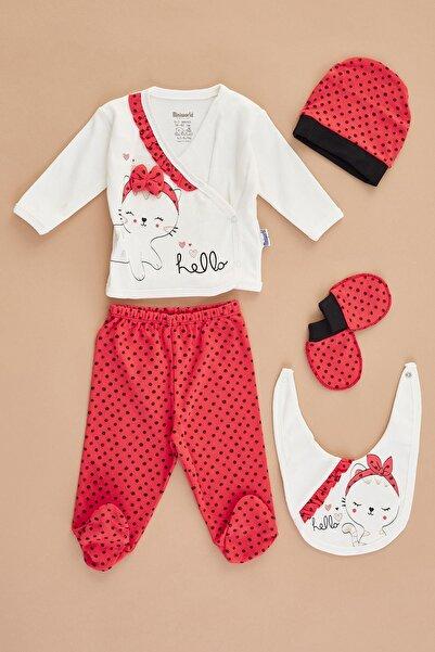 Fulla Moda Kız Bebek Kırmızı Kedi Baskılı Takım