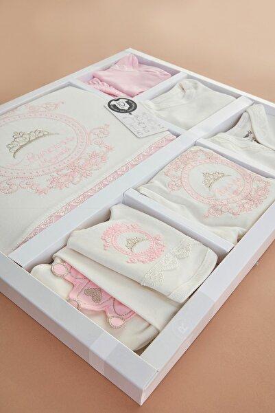 Fulla Moda Kız Bebek Pembe Miniworld Taçlı 10'Lu Zıbın Set