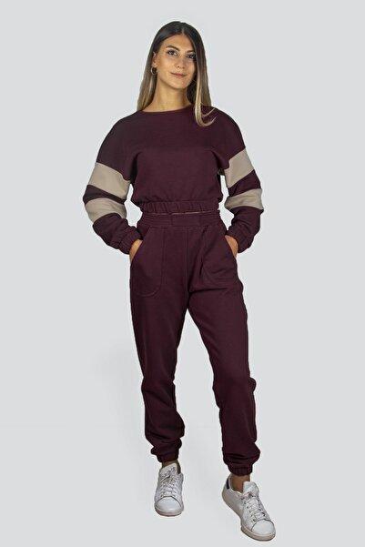 Sohofly Kadın Vişne Kolu Şeritli Crop Üst Jogger Altlı Eşofman Takımı / Shaw21-210