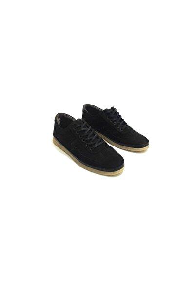 Erdem Erkek Siyah Nubuk Jel Taban Özellikli Bağcıklı  Günlük Ayakkabı