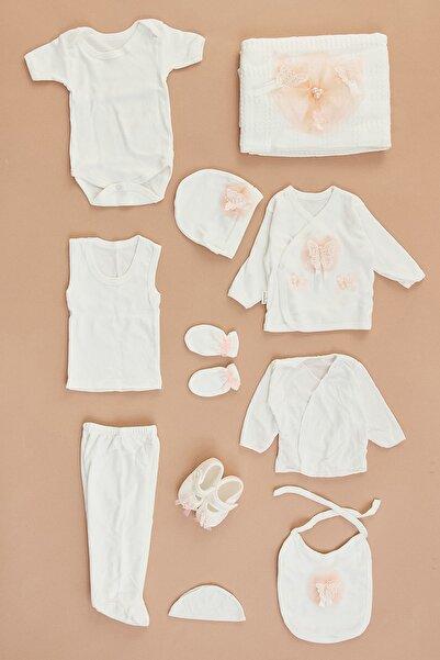 Fulla Moda Unisex Bebek Ekru Kelebek İncili Takım 11'Li