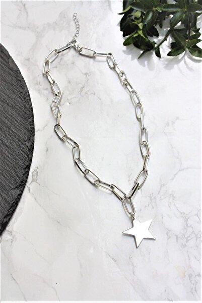 Universal Kadın Gümüş Ucu Yıldız Figürlü Zincir Kolye