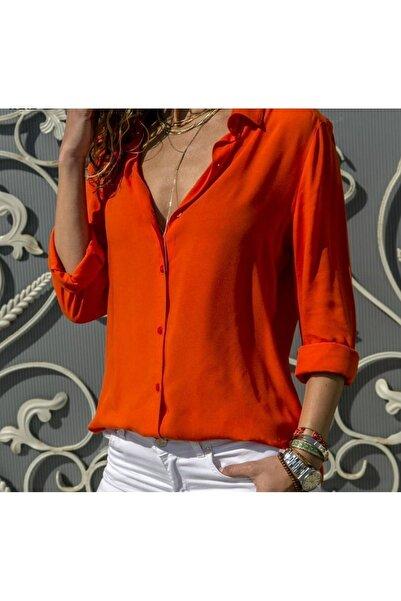 Modayakamoz Kadın Kırmızı Dokuma Viskon Kumaş Efsane Basic Gömlek