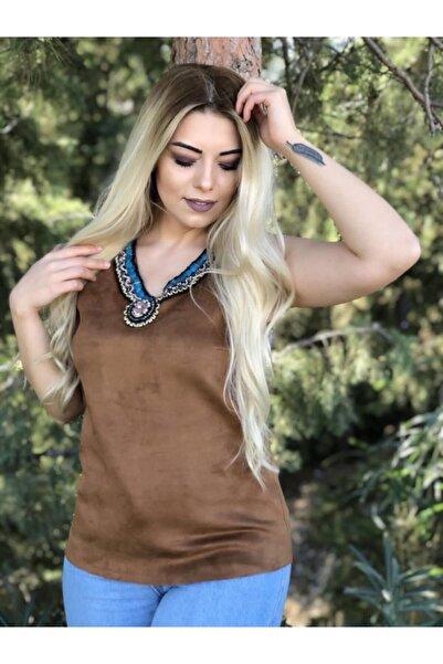 Sateen Kadın Kahve Nubuk Bluz