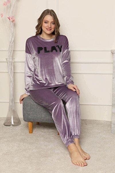 Mossta Kadın Lila Play Likralı Kadife Pijama Takımı