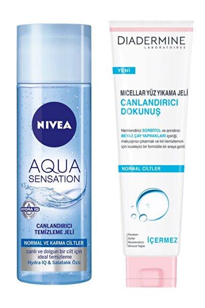 Nivea Aqua Sensation Canlandırıcı Yıkama Jeli 200 ml ve Diadermine Canlandırıcı Dokunuş Yıkama Jeli 150 ml