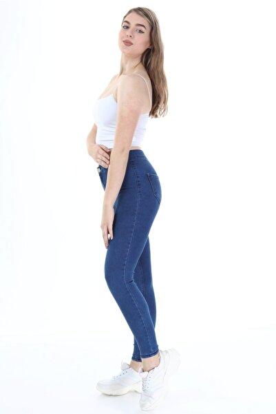 Manga Kadın Mavi Cepsiz Likralı Yıkamalı Jeans