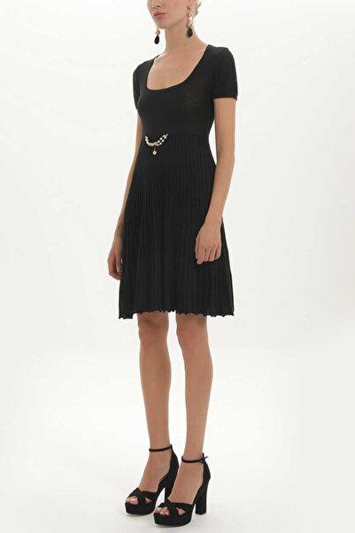SOCIETA Kadın Siyah Pliseli Triko Elbise 27897