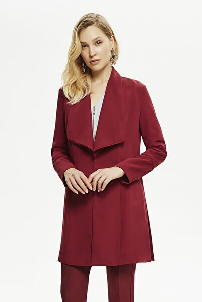 Naramaxx Kadın Şarabi Yaka Detaylı Uzun Ceket
