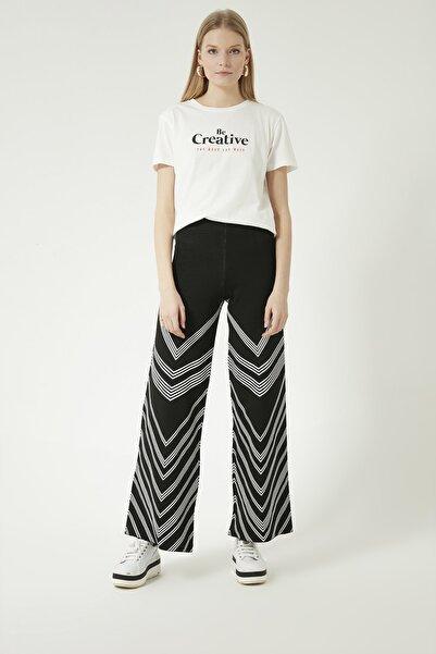 JOIN US Kadın Siyah Çizgili Beli Lastikli Triko Pantolon