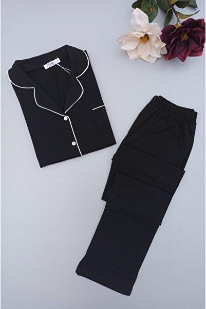 NOCHES PYJAMAS Kadın Siyah Boydan Düğmeli Pijama Takımı