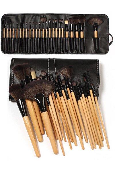 Gold Bambu Makyaj Fırça Seti - Profesyonel Çantalı 24 Parça 2170004102036