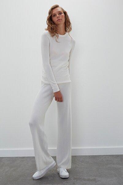 JOIN US Kadın Ekru Dikişsiz Whole Garment Ribana Beli Lastikli Triko Pantolon