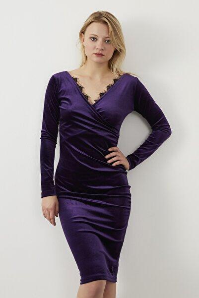 ELBİSENN Kadın Mor Kruvaze Yaka Gupur Detay Kalem Elbise