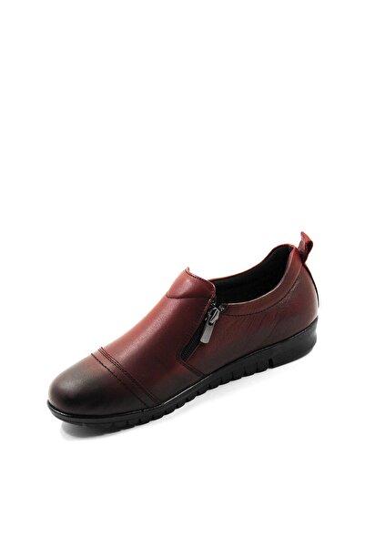 Valenta Kadın Bordo Hakiki Deri Fermuarlı Klasik Ayakkabı